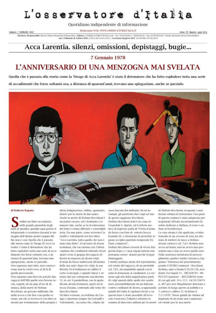 L'Osservatore d'Italia - Edizione speciale del 7 gennaio 2017